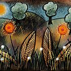 Orange glow flowers by MicheleBrownArt