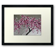pink cherry blossom tree from Japan with silver and white Framed Print