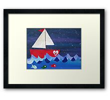 Boat has a float- rhyming collages for kids- made with math book drafts Framed Print