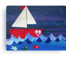 Boat has a float- rhyming collages for kids- made with math book drafts Canvas Print