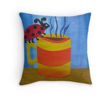 Lady Bug on a Mug - Animal Rhymes - created from recycled math books Throw Pillow