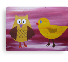 Owl with a Fowl - Animal Rhymes - created from recycled math books Canvas Print