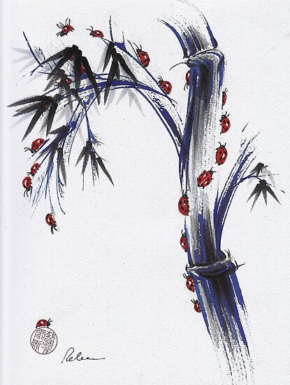 The Journey - Ladybug Bamboo mixed media painting by Rebecca Rees