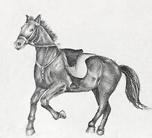 Pencil Drawing of a Running Horse by kirilart