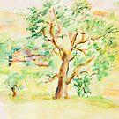 Watercolor Rural Summer Landscape by kirilart