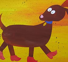 Dog in Clogs -Mini Sausage Dog - Animal Rhymes - created from recycled math books by cathyjacobs