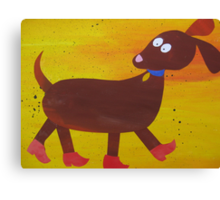 Dog in Clogs -Mini Sausage Dog - Animal Rhymes - created from recycled math books Canvas Print