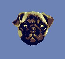 Pug head blue by Ben Farr