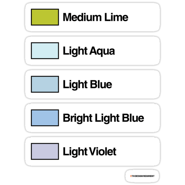 Brick Sorting Labels: Medium Lime, Light Aqua, Light Blue, Bright LightBlue, Light Violet by 9thDesignRgmt
