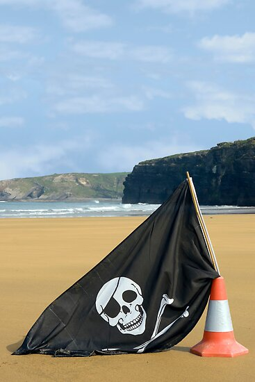 beach with jolly roger flag by morrbyte