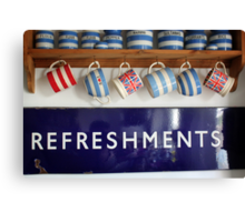 Refreshments -Old Railway Sign Canvas Print
