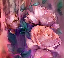 Raindrops On Peach Roses by Carol  Cavalaris