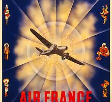 Vintage 1940 Air France Travel Poster by Chris L Smith