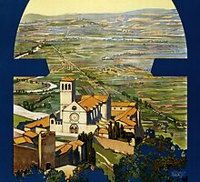 Vintage Travel Poster to Assisi Italy by Chris L Smith