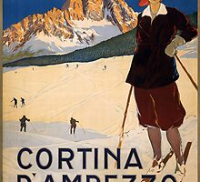 Vintage Travel Poster to Cortina d'Ampezzo by Chris L Smith