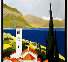 Vintage Travel Poster to the Italian Lakes by Chris L Smith