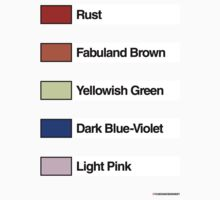 Brick Sorting Labels: Rust, Fabuland Brown, Yellowish Green, Dark Blue-Violet, Light Pink by 9thDesignRgmt