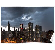 New York City Under Stormy Sky Poster