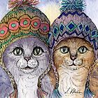 The knitwear cat sisters in hats by SusanAlisonArt