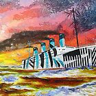 A digital painting of RMS Titanic's Senior Sister RMS Olympic by Dennis Melling