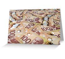 100 Canadian dollar banknotes. Greeting Card