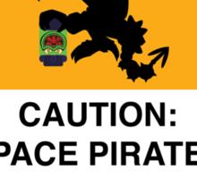 Space Pirates Warning Placard Sticker
