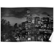 Melbourne & the Yarra River at night looking west. Poster