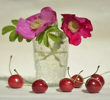 Still life with Cherries and Dog Roses by JuliaPaa