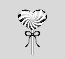 Black And White Heart Lollipop by destei