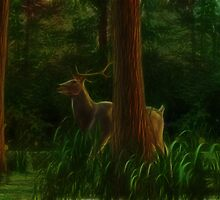 Stag in the Morning Forest by Arkani