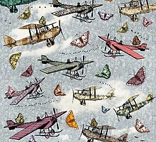 Vintage Sky - Planes and Butterflies by BelleFlores