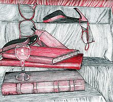 Still Life in Red and Black by Judith Livingston