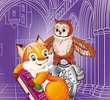 fox and owl  by SVETLANA ZOLOTAREVA