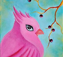 Flamingo Fantasy bird, whimsical bird art by mariakitano