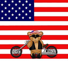 Cute Patriotic Teddy Bear Biker by ArtformDesigns