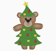 Cute Teddy Bear Dressed as a Christmas Tree Kids Clothes