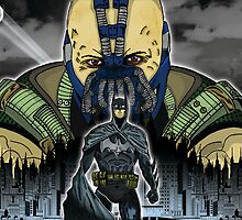 Batman vs. Bane and Gotham city by American Artist