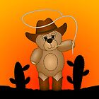 Cute Cartoon Teddy Bear Cowboy by ArtformDesigns