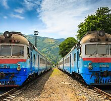 Blue train stand side by side in the mountains by pellinni