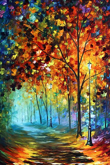 Fog Alley- Oil painting on Canvas By Leonid Afremov by Leonid  Afremov