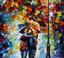Under One Umbrella 2- Oil painting on Canvas By Leonid Afremov by Leonid  Afremov