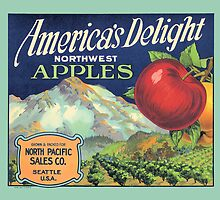 America Delight Washington Apple Crate Label by LABELSTONE