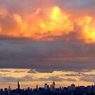 Firey sunset over New York City  by Alberto  DeJesus
