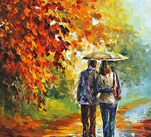 Autumn Date - Oil painting on Canvas By Leonid Afremov by Leonid  Afremov