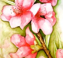 Peach Flower Watercolor iPhone Case by Juliette Vaissiere