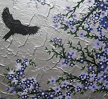 purple blossom with bird and textured silver background by cathyjacobs
