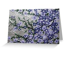 Purple and silver flowers with green leaves Greeting Card