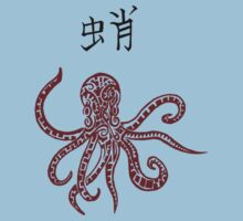 Red Tribal Octopus & Kanji by Mark Kerr