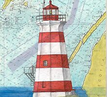 Brier Island Lighthouse NS Canada Chart Art Cathy Peek by Cathy Peek