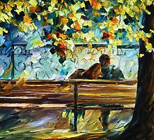 Date On The Bench - Oil painting on Canvas By Leonid Afremov by Leonid  Afremov
